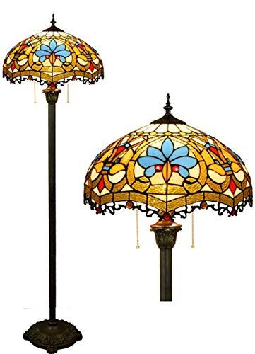 LYEJFF Retro Tiffany-Art-Fußboden-Lampen 16 Zoll europäischen Glasmalerei Deckenfluter Wohnzimmer Schlafzimmer Nachtbodenleuchten Zipper Schalter Cafe Standlicht