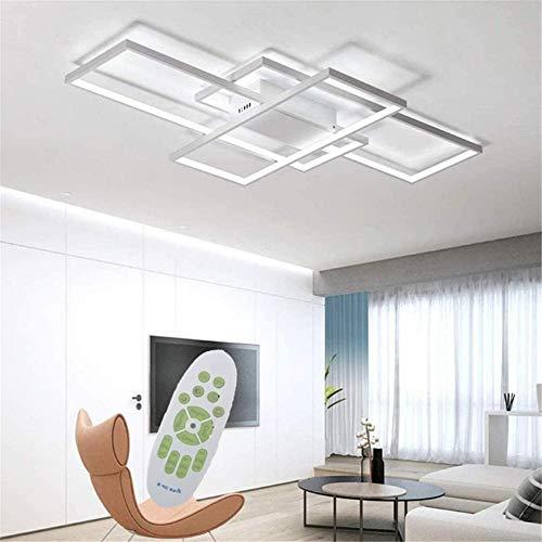 LED Dimmable Plafonnier Salon Lampe avec Télécommande Moderne Plafond Plafond Creative Métal Acrylique Design Plafond Lampe Éclairage Chambre Décor Lampe 90 * 50 * 8CM-50W-5000lm