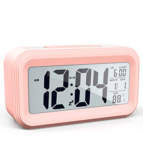 AYRELY Battery Operated Cordless Digital Alarm Clock with Date,Temperature,Smart Sensor Light,12/24Hr,Snooze for Bedrooms,Office,Heavy Sleepers,Kids,Girls (Pink)