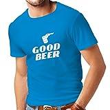 lepni.me Camisetas Hombre Necesito una Buena Cerveza, Regalo para los Amantes de la Cerveza Ropa de Fiesta (Medium Azul Blanco)