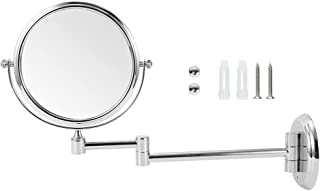 مرآة، مرآة فضية اللون، إكسسوار أدوات تجميل مثبت على الحائط للحمام وغرفة الملابس (فضي ساطع مستدير سفلي 15.24 سم)