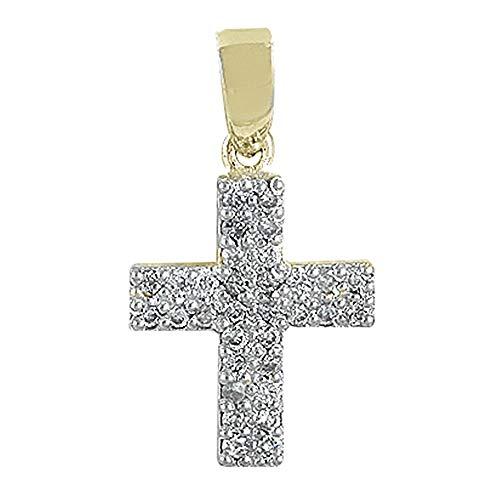 Colgante cruz oro 18k colección Olimpia 10mm. diamantes 0.18ct. brillantes