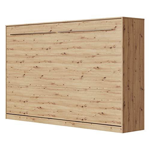 SMARTBett Standard 120x200 Horizontal Wildeiche Komfort Lattenrost Schrankbett | ausklappbares Wandbett, ideal geeignet als Wandklappbett fürs Gästezimmer, Büro, Wohnzimmer