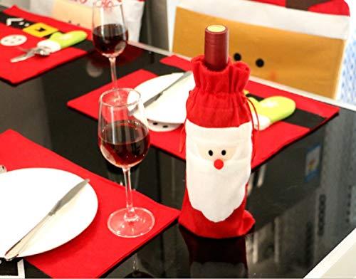 Heatigo 2 Stück Weihnachten Flaschen Deko, Weihnachtsmann,Weihnachten RomantischTischdekoration,Weihnachten Weinflasche Abdeckung Schneemann,Party Restaurant Weinflasche Weihnachtsdekoration