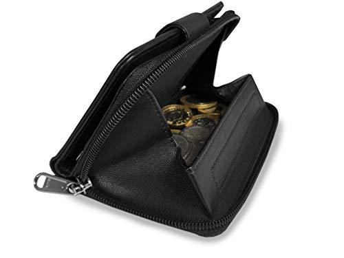 Cartera de piel con monedero para mujer, de Quenchy Ql115, Black GIFT BOXED (Negro) - QL115KX