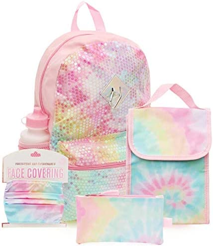 6 Pc Tie Dye Backpack Set for Girls 16 inch w Kids Tie Dye Face Mask Lunch Bag Pencil Case product image
