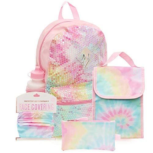 6 Pc. Tie Dye Backpack Set for Girls, 16 inch, w/Kids Tie Dye Face Mask, Lunch Bag, & Pencil Case