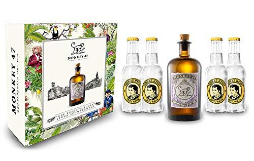 Monkey 47 Gin Geschenkset - Monkey 47 Schwarzwald Dry Gin 500ml (47% Vol) + 4x Thomas Henry Tonic Water 200ml - Inkl. Pfand MEHRWEG