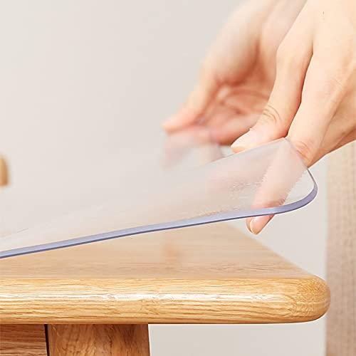 Manteles Transparente,Mantel PVC,Esteras de Mesa de Cristal,Esteras de Tabla Plásticas,Alfombrilla de Escritorio de Comedor de Cocina,Impermeable,Resistente a Altas temperaturas (1.3mm,80*80cm)