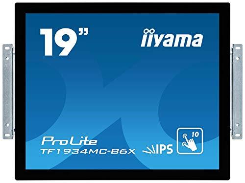 iiyama Prolite TF1934MC-B6X - Monitor LED IPS (48 cm/19, XGA, Marco Abierto de 10 Puntos, multitáctil, VGA, HDMI, DisplayPort, IP65), Color Negro