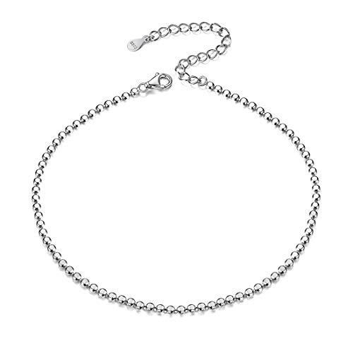 925 Sterling Silver Bead Chain Anklet for Women Bohemian Foot Ankle Bracelet Boho Sandal Barefoot Jewelry