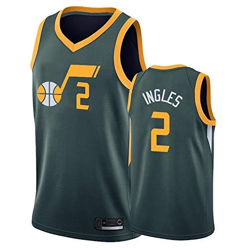 LITBIT Baloncesto para Hombres NBA Jersey Vintage Utah Jazz 2# Inglés Transpirable Secado rápido Vestima sin Mangas Top para Deportes,Verde,M