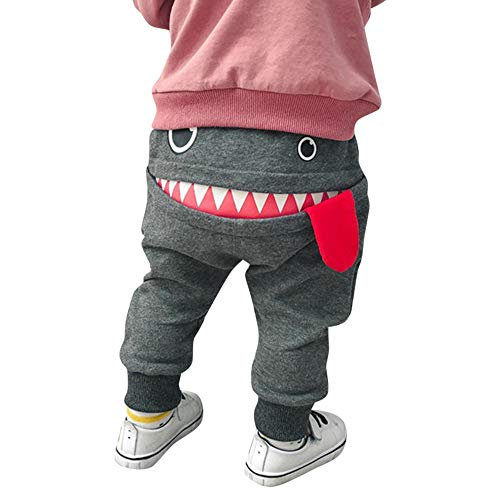 SUCES Kinder Hosen Unisex Süß Jogginghose Jungen Baumwolle Dick Elastische Leggings Mädchen Warm Gefütterte Sporthose(Grau,90)