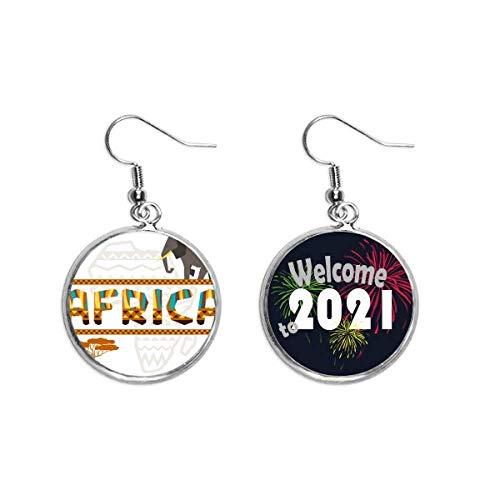 Pendientes con diseño de mapa de África con elefante, sabana africana, 2021 bendición
