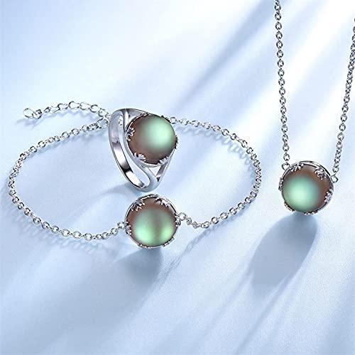 yuge Conjunto de joyería de moda para mujer 925 plata esterlina collar pulsera anillo esmeralda Aurora piedra preciosa diseño único anillo de joyería tamaño 9
