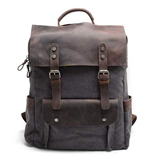 Generic Brands New Retro Herrenrucksack Laptop Rucksack, wasserdicht und verschleißfest, hochwertige Leinwand + Leder