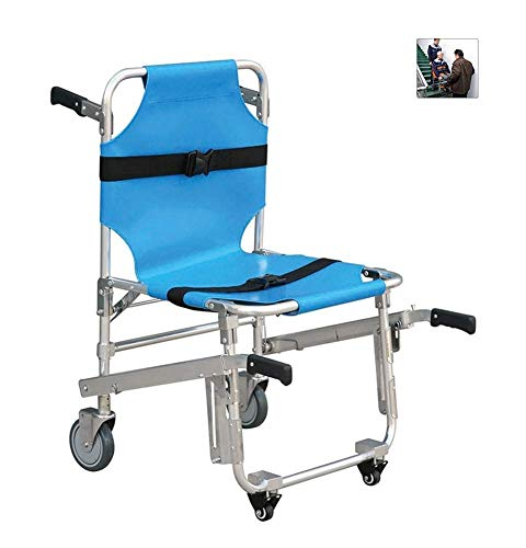 GLJY EMS Stair Chair - Notfall 4 Räder Krankenwagen Feuerwehr Evakuierung Medical Transport Chair mit Patienten Rückhaltegurten, 350 lbs Kapazität, blau