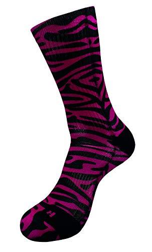 Pink Zebra Socken mit Eigenem Handgefertigte Motiv Design 3D Druck Socken für Basketball Fitness Volleyball Tennis Golf Radfahren Alltag Outdoor Atmungsaktiv Sportsocken für Höhe Leistung (35-38)
