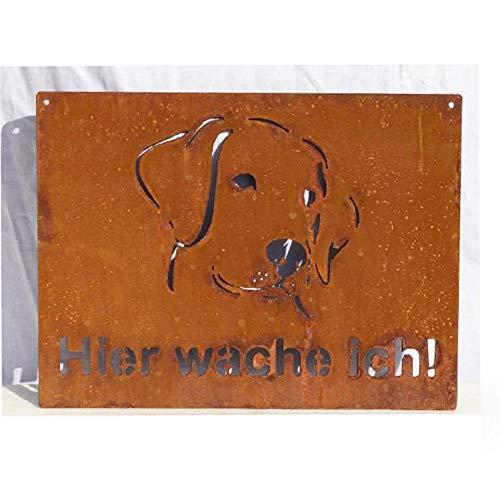 EQT-TEC Premium Gartendekoration Edelrost Hund Schild Zaun Gartentor 40x30 cm Rostdeko Garten Dekoration Deko