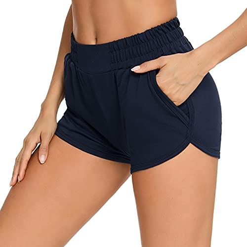 Wayleb Pantalones Cortos Deportivos para Mujer Elástico de Alta Cintura Transpirable Shorts Deporte Algodón con Bolsillos Laterales Entrenamiento Yoga Pijama Verano,Armada,S