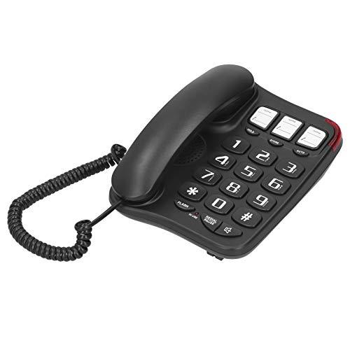 PUSOKEI Teléfonos fijos para Oficina en casa, teléfonos con Cable Teléfonos fijos con Cable, Gran teléfono de Escritorio con Botones Transparentes(Negro)