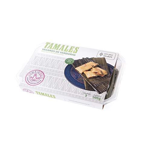 La Reina de las Tortillas - Leader europeo nella gastronomia artigianale messicana.'Tamales' con verdura. Mais 100%'nixtamalizado'. Adatto ai vegani e celiaci. Vassoio di 3 unità. Scadenza 4 mesi