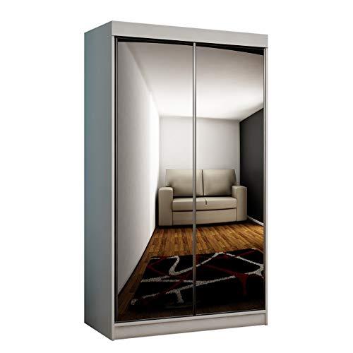 Mirjan24 Kleiderschrank Toplo 100 I, Elegantes Schlafzimmerschrank 2 Spiegel, 100 x 200 x 62 cm, Dielenschrank, Garderobenschrank, Schwebetürenschrank (Weiß, mit RGB LED Beleuchtung)