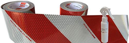 Orafol Set Kfz-Warnmarkierung Weiss/rot 141 mm breit Meterware Mind. je 1 m Links- und rechtsweisend inkl. 1 x UvV Anti-Blasen Fluid