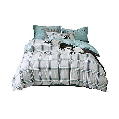 YANGYUAN Bedding Quilt Set di 4, Lenzuola di Cotone, Tessuti for la casa, 4 Quilt -Lenzuola Copertura, Elegante Plaid di Colore Chiaro (Size : 2.0m)