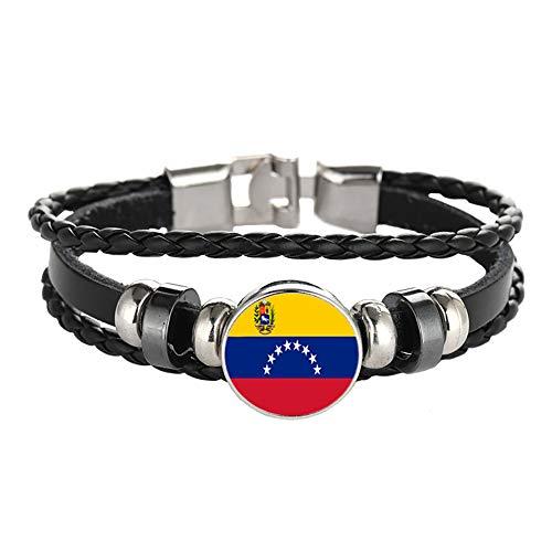 Wedare Souvenir Bandera de Venezuela Pulsera Trenzada Cadena de Cuero Pulsera de Cristal Recuerdo, Pulsera Hecha a Mano de Moda para Hombre y Mujer día