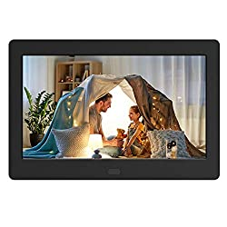 Digital Photo Frame with IPS Screen - Digital Picture Frame with 1080P Video, Music, Photo, Auto Rotate, Slide Show, Remote Control, Calendar, Time,1280x800 16:9,Support USB and SD Card (7 Inch Black)