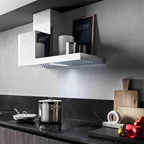 KDesign Wand-Dunstabzugshaube, Modell K105, erhältlich in 2 Größen, Filter aus Karbon, LED-Beleuchtung, Design: 100 % Made in Italy (120 cm rechte Seite).