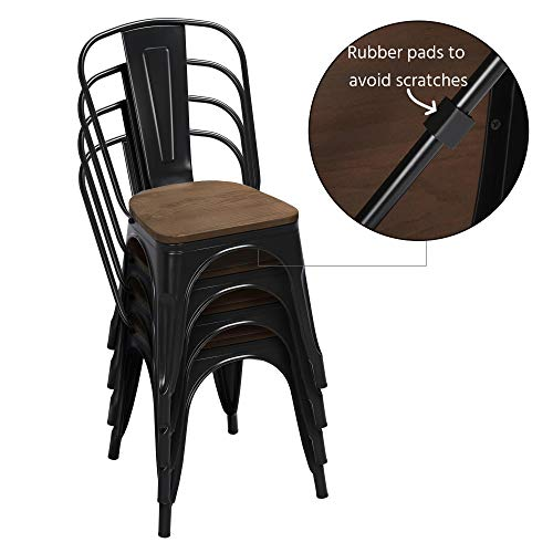 Yaheetech 18 Inch Classic Iron Metal Dinning Chair with Wood Top/Seat Indoor-Outdoor Use Chic Dining Bistro Cafe Side Barstool Bar Chair Coffee Chair Set of 4 Black