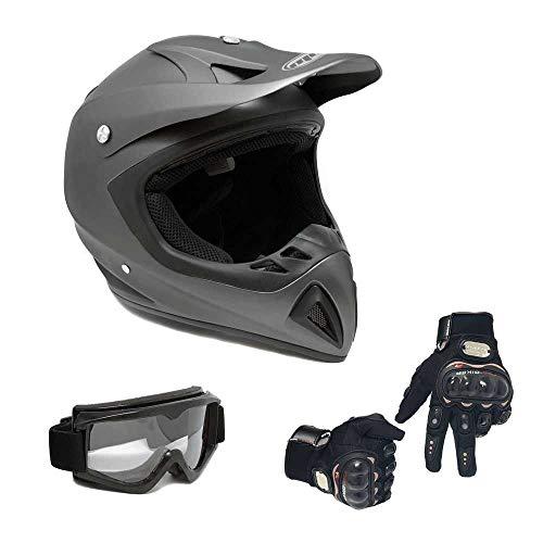 MMG 27 Combo Adult Motorcycle Off Road Helmet DOT - MX ATV Dirt Bike Motocross UTV - Medium, Grey with Riding Gloves and Goggles