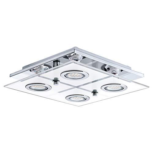 EGLO 30931 Plafonnier, Verre, GU10, Chrome, Transparent, Blanc