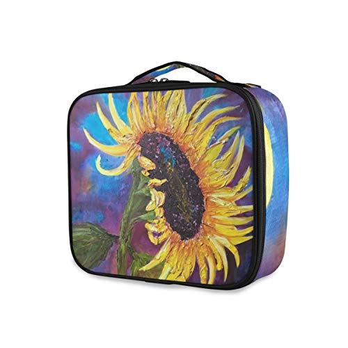 LUPINZ Kosmetiktasche mit Sonnenblumen-Motiv, zum Auftragen von Make-up, multifunktional, für Mädchen