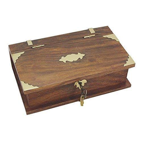 linoows Maritime Holzbox, Buchbox mit Schloss, Messing Beschläge, Sheesham Holz