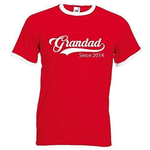Personnalisé Grandad depuis T-shirt Rouge Dessus blanc du S au XXL personnalisé à capuche pour fête des pères Noël Cadeau d'anniversaire Cadeau - Roug