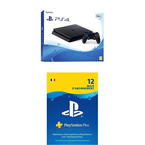 PS4 Slim 500 Go F noir + PlayStation Plus: abonnement de 12mois | Code Jeu PSN - Compte français