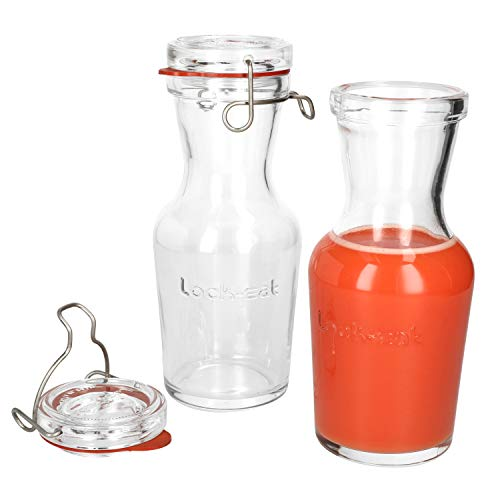 Luigi Bormioli 2er Set Lock-Eat Glas-Karaffe 0,5 Liter I Bügelflasche I Saft-, Milch-, Wein- & Wasser I Elegante Karaffe mit Glasdeckel & Bügelverschluss I dickwandiges Glas I Edelstahlklemme   Krug