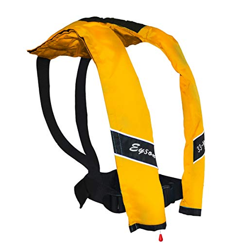 Eyson Slim Inflatable Life Jacket Life Vest PFD Adult Manual for Adults (Yellow)