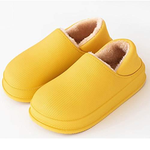 DYXYH Zapatillas de Invierno Zapatillas de Felpa cálidas Informales Interiores Impermeables Zapatillas de Piel de algodón Zapatillas de casa (Color : Yellow, Size : 35-36)