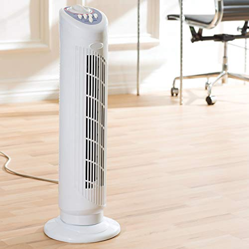 Daewoo 30-Inch Tower Fan for Home/Office, 3 Speed Settings, 1 Hour Timer, Portable Sleek Design, Ideal Cooling System, White