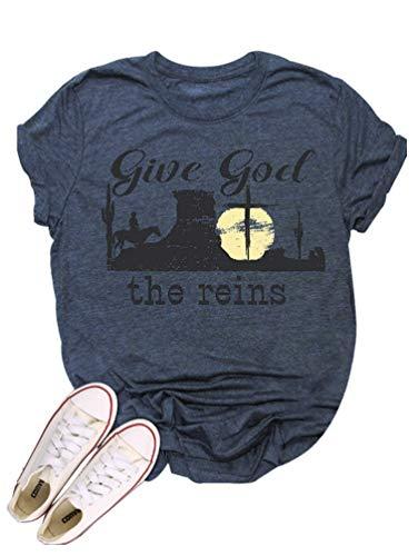 Give God The Reins Country Music Shirt Women Western Cowboy Crew Neck Short Sleeve Vintage Top Dark Blue
