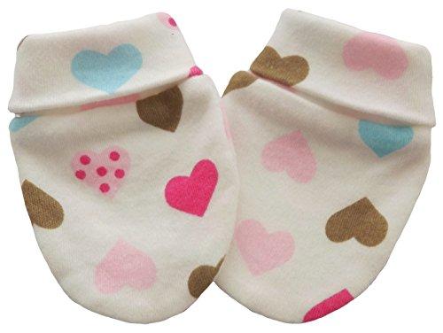 Coton Bio naissance anti Scratch Moufles Multi Couleur coeurs Multi-Color Hearts 6-12 mois
