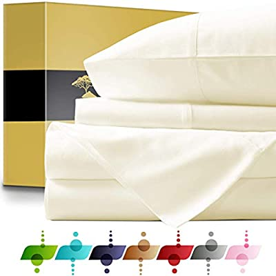 URBANHUT Egyptian Cotton Sheets Set - 1000 Thread Count 100% Cotton Bed Sheets Queen (4 Piece), Luxury Queen Size Sheets for Bedroom Sets, Deep Pocket, Soft & Silky Sateen Weave (Ivory)