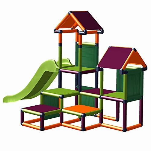 move and stic Spielturm Kletterturm Gesa mit Rutsche für Kleinkinder mit Kriechtunnel Mas (apfelgrün orange brombeer)