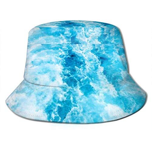 Sun Cap Sea Water Ship Trail White Foamy Bucket Sun Hat...