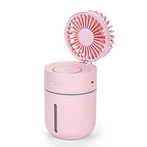 YNHNI 400ml del Aire con Carga USB Ventilador portátil ángulo 7-Hoja Ajustable Ventilador portátil Mini Máquina aromaterapia (Color : Pink)