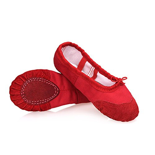 DoGeek Transpirable Zapatos de Ballet Lona Zapatillas de Ballet de Danza Baile Zapatos Yoga (41 EU, Rojo)